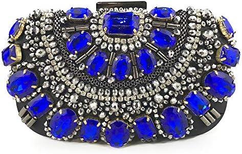 ハンドバッグ - 女性のヨーロッパやアメリカの手ビーズのイブニングバッグの手ヘビーダイヤモンド、5.5センチメートル* 10センチメートル* 16.5センチメートル よくできた (Color : Blue)