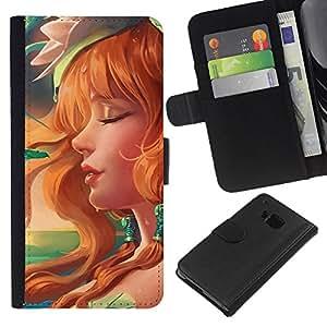 NEECELL GIFT forCITY // Billetera de cuero Caso Cubierta de protección Carcasa / Leather Wallet Case for HTC One M9 // Redhead atractivo