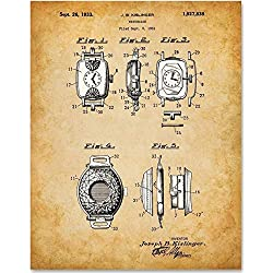 Watch Case - 11x14 Unframed Patent Print - Makes a Great Gift Under $15 for Watch Collectors