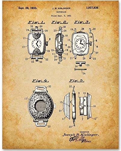 Watch Case - 11x14 Unframed Patent Print - Makes a Great Gift Under $15 for Watch Collectors ()