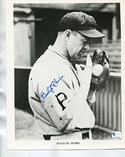 * BURLEIGH GRIMES * Pittsburgh Pirates spitball vintage signed 8x10 photo Hall of Fame / Authenticated