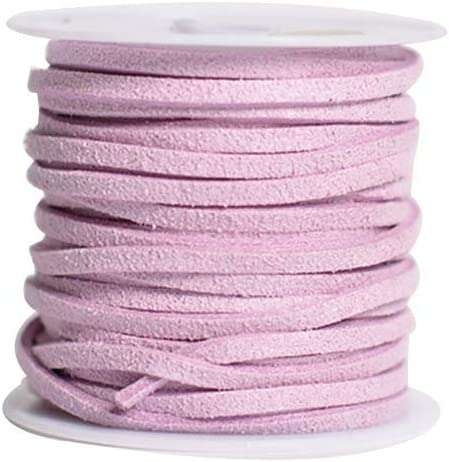 White, Beige, Pink, Light Purple SUPVOX 4PCS 5M Flat Leather Lace Beading Thread Faux Suede Cord String for Bracelet Necklace DIY Beading Jewelry Making Arts Crafts