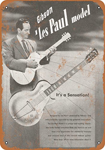 (Wall-Color 9 x 12 Metal Sign - 1952 Gibson Les Paul Introduction - Vintage Look )