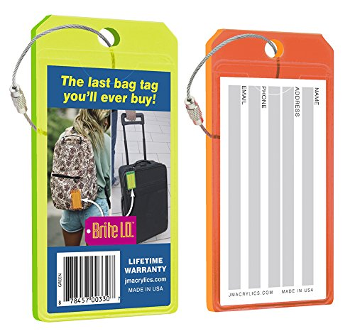 Brite I.D. Neon Green/Orange Luggage Tag Combo Pack, Set of (Green Neon Luggage Tag)