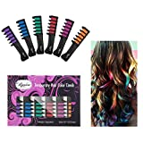 Maydear Temporary Hair Chalk Comb, Non-Toxic Washable Hair Color Comb for Hair Dye (6-Color Pack)