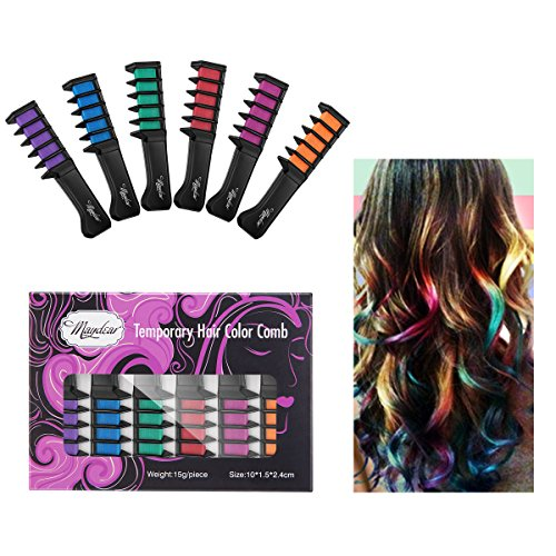 Maydear Temporary Hair Chalk Comb-Non Toxic Washable Hair Color Comb for Hair Dye-Safe for Kids for Party Cosplay DIY (6 (Temporary Hair Dye For Dark Hair)