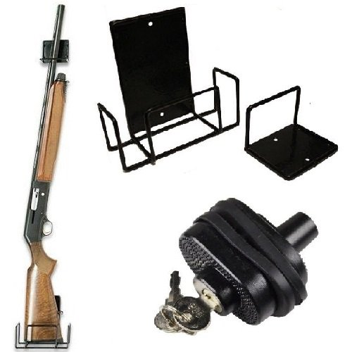 Ultimate Arms Gear Secure Universal Firearm Gun Handgun Pistol Revolver Shotgun Rifle Protective Key Trigger Block Lock + Coated Steel Universal Storage Shelf Rack Mount For Mounting (Allen Atv Gun)