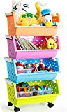 MAGDESIGNER Kids' Toys Storage Organizer Bins Baskets with Wheels Can Move Everywhere Large 4 Baskets Natural/Primary (Primary Collection) (Purple&Blue&Orange&Green)