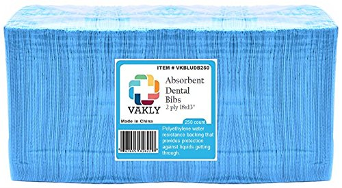 Vakly 2-Ply, Dental Bibs/Tattoo Bibs 13'' x 18'', Blue (250)