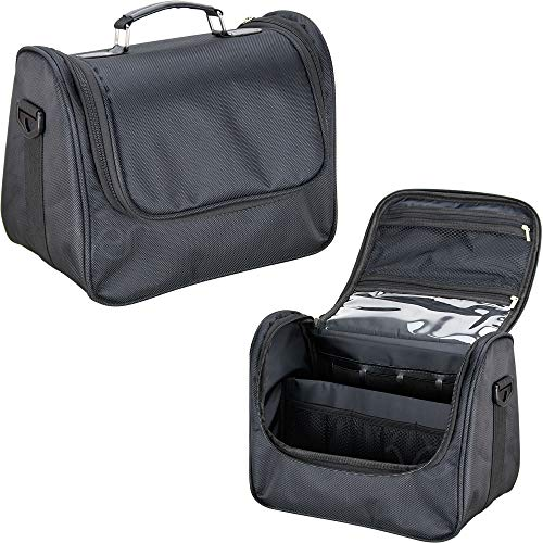 Ver Beauty Soft Sided Makeup Cosmetic Beauty Travel Nylon Case Toiletry Bag Organizer Kit, Black Nylon
