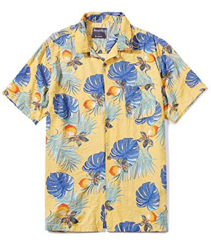 Men's Hawaiian Tops Casual Short Sleeve Aloha Shirt Summer Shirt Plam Leaves M