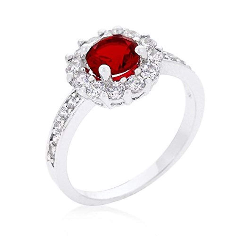 Covet Ruby Red Halo Engagement Ring