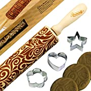 Pudhoms Embossed Rolling Pins Cookies - Floral Design Engraved Patterned Embossing Carved Decorative Natural Wooden 3D Tool for Kitchen Pastry Dough Fondant Cake Baking With Special Box + Free Cutters