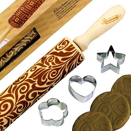 Pudhoms Embossed Rolling Pins Cookies - Floral Design Engraved Patterned Embossing Carved Decorative Natural Wooden 3D Tool for Kitchen Pastry Dough Fondant Cake Baking With Special Box + Free -