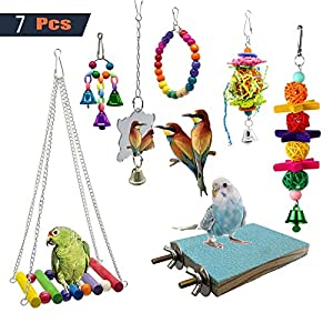EBaokuup 7 Packs Bird Swing Chewing Toys- Parrot Hammock Bell Toys Suitable for Small Parakeets, Cockatiels, Conures…