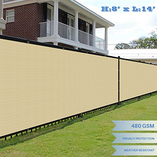 E&K Sunrise Premium Fence Screen 8' x 14' Fence Privacy Screen Solid Vinyl Fence Screen Fabric 100% Privacy (480GSM) -3 Year Limited Warranty&8-10 Year Expected Life/Solid Beige