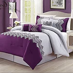 Amazon.com: 7 Piece Light Plum Silver Abstract Embroidery