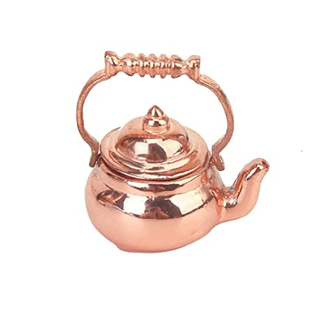Mini Copper Cooking Pan Kettle Pot for 1:12 Miniature Dollhouse DIY Furniture Accessories Kitchen Decoration Kids Pretend Play Toy Onegirl 1//12 Dollhouse Accessories and Furniture Mini Kettle