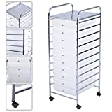 Marketworldcup 10 Drawer Rolling Storage Cart Scrapbook Paper Office School Organizer Clear