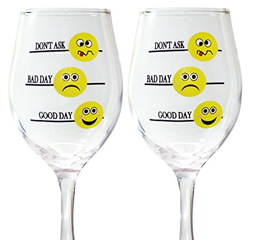 BANBERRY DESIGNS Funny Wine Glass Set - Good Day Bad Day Don't Ask - Set of 2 Emoji Wine Glasses - Wine Glasses with Sayings