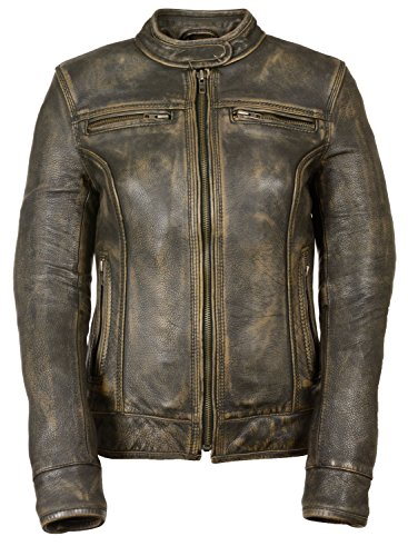 Womens Distressed Leather Vented Scooter Jacket, Brown Size (Distressed Brown Leather Jacket)