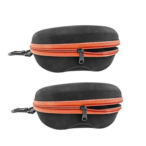 INNOLIFE Orange 2pcs, Zipper Shell Sunglasses Glasses Case with Plastic Carabiner Hook