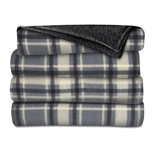 Sunbeam Fleece Heated Throw, Hamilton Plaid/Slate Black, TSF8UP-R871-31A00