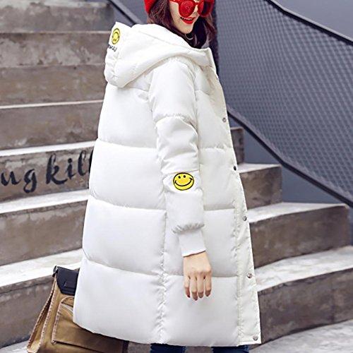 Invierno Sonriente Más Gruesa Casual Largo De Outwear Slim Bata Algodón Abrigo Mujeres Ropa Cara Chaqueta Engrosamiento Blanco Impresión Internert wqS18I1
