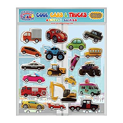 JesPlay Trucks Cars and Construction Vehicles Thick Gel Clings – Reusable Window Clings for Kids and Adults - Incredible Gel Decals of Cars, Monster Trucks, Motorcycles, Racecars
