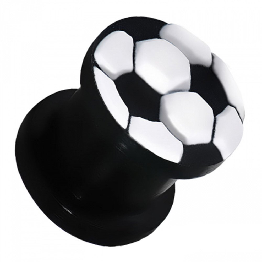 Dynamique Pair Of Soccer Ball Embossed Flexible Silicone Double Flare Black Plugs