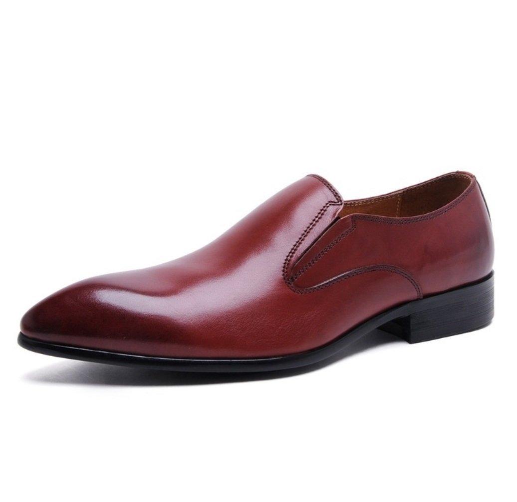 SHANGWU Zapatos de Cuero de Cuero Genuino de los Hombres Zapatos de Cuero de los Hombres Británicos Puntiagudos Zapatos de Vestir de Negocios Zapatos de Cuero de Ganado de Alta Calidad Hechos a Mano 44|Rojo