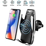 SYSTENE Wireless Charging Car Phone Mount with Automatic Clamping 10W Quick Charger, Smart Sensor Control, 360° Rotation, Compatible with All Wireless Charging Enabled Devices(qi)