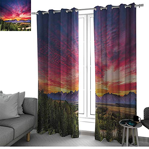 - Lake House Decor Collection Thermal Insulated Blackout Patio Door Curtain Panel Colorful Skyline with Clouds in The Forest Lake River Mountain Landscape Park Sunburst Kids Room Decor Multi