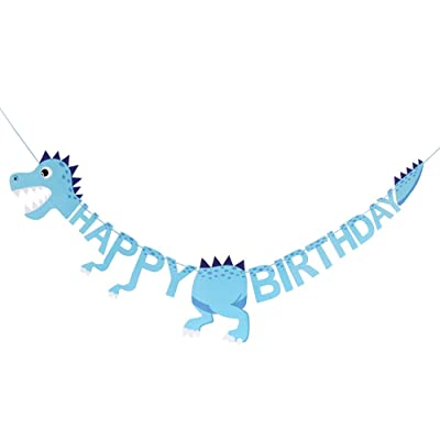 Dinosaur Themed Happy Birthday Banner, Kid's Birthday Party Decoration, 1st 2nd 3rd 4th 5th 6th 8th 9th 10th 11th 12th Birthday Party Decoration for Boys (Blue): Toys & Games