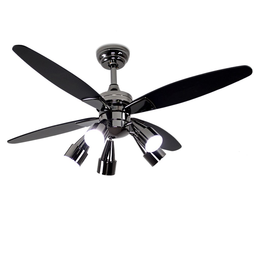 Andersonlight Contemporary Ceiling Fan 4 Black Wood Blades with 5 Rotatable Light Set, Remote Control, Multi-Speed (Adjustable High / Medium / Low 3 Modes), 48-Inch Indoor Low Profile Fan Chandelier