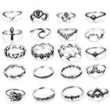 LOLIAS 20-22 Pcs Vintage Knuckle Ring Set for Women Girls Stackable Rings Set Hollow Carved Flowers
