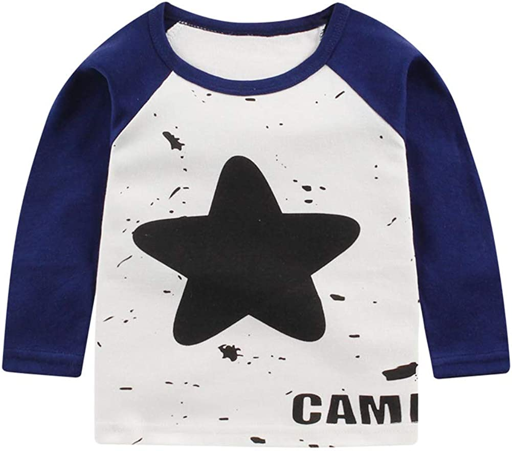 MeterMall Children 100/% Cotton Long Sleeve T-Shirt Baby Leisure Cartoon Round Collar Raglan Sleeve Shirt
