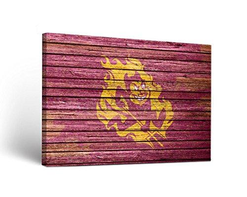 Arizona State Asu Sun Devils Canvas Wall Art Weathered Design
