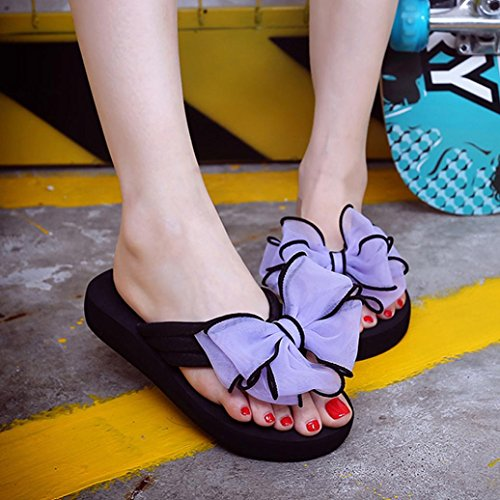 Webla Mujer Verano Bowknot Slide En Sandalias Zapatillas Interior Al Aire Libre Flip-flops Playa Zapatos Verano Púrpura