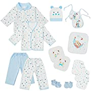 18PCS Newborn Baby Boys Girls Clothes Sets Infant Outfits Layette Essentials Accessories(Blue)