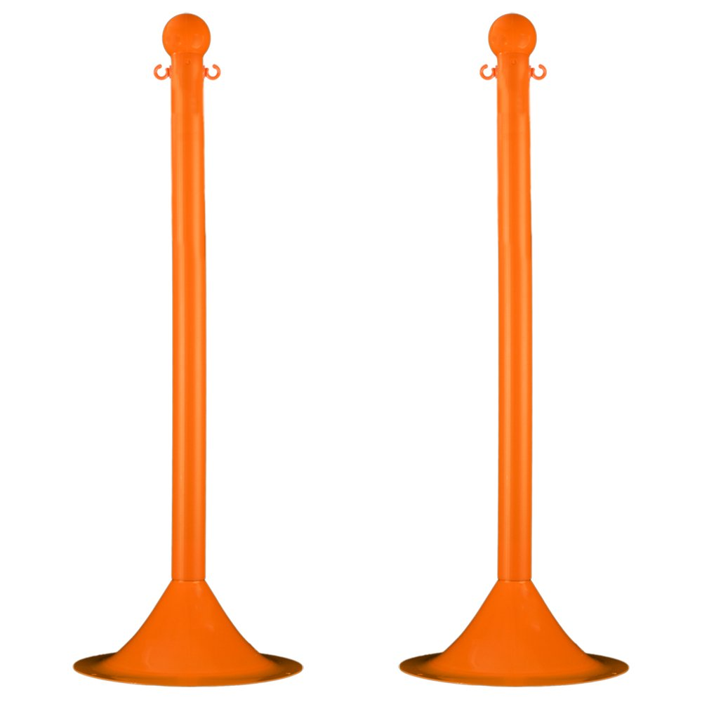 Mr. Chain Stanchion, Safety Orange, 41-Inch Height, 2-Inch Diameter Pole, Pack of 2 (91512-2) by Mr. Chain