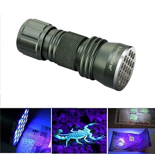 LingsFire - Linterna de bolsillo ultravioleta con 21 ledes para escorpiones y bichos de cama, falsificaciones, fugas de aire...