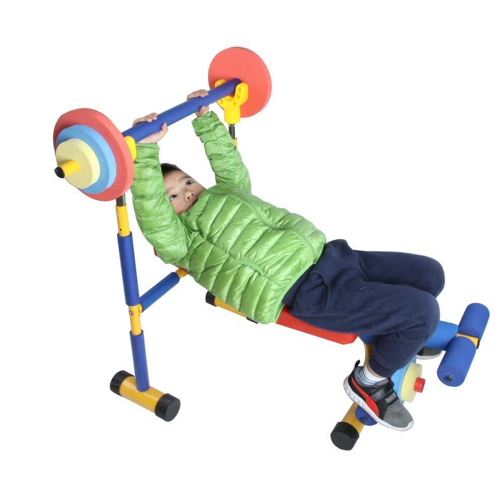 おもちゃのベンチとレッグプレス、初心者の運動のための子供の遊びのワークアウト機器、男の子と女の子のための重量挙げ、誕生日プレゼント、子供のための機器