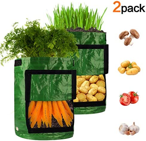 MAOMAO Potato Grow Bags 10 Gallon Garden Vegetables Plant Growing Bags with Handles, Garden Bag Plant Pot for Grow Vegetables Carrots Onions Tomatoes Taro Radish Peanut 2-Pack