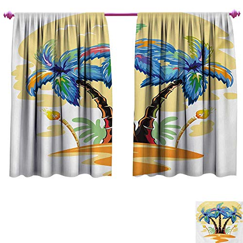 (cobeDecor Palm Tree Customized Curtains Colorful Cartoon Tropical Island with Hawaiian Palm Trees Torch Seagulls Sunset Waterproof Window Curtain W55 x L72 Blue Orange)