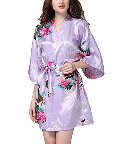 (Admireme Women's Bridesmaid Robes Short Peacock Blossoms Kimono Robe Dressing Gown Floral Robes (M, Light)