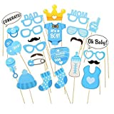 Baby Blue Photo Booth Props Boy DIY Kit for Baby Shower Mustache Nipple Eyeglass Balloon Hat Birthday Party Decorations Costume Dress-up Accessories Doubtless Bay (25Pcs blue)