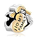 CharmsStory Heart Baby Girl Hugging I Love My Family Charms Beads Fits Pandora Jewelry Bracelet Gifts