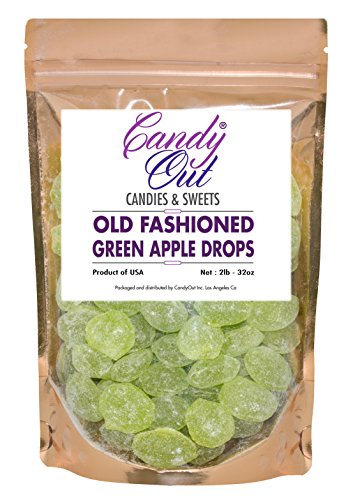 (Green Apple Drops 2 Pounds Old Fashioned Hard Candy in CandyOut Sealed Stand Up Bag )