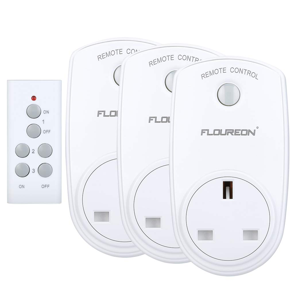 FLOUREON Wireless Remote Control Sockets Programmable Electrical Plug Outlet Switch for Household Appliances, Bedroom Kitchen Lights, up to 30m/100ft Operating Range (3pack, White)
